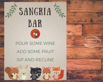 Woodland Creatures Baby Shower Sangria Bar Sign   Printable   Instant Download