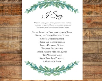 Greenery I Spy Wedding Game, Printable Game,  Instant Digital Download