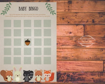 Woodland Creatures Baby Shower Bingo Game   Printable   Instant Download