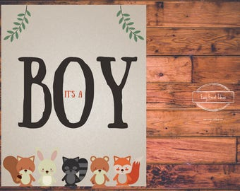 Woodland Creatures Baby Shower it's a Boy 8x10 Sign   Printable   Instant Download