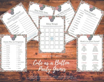 Cute as a Button Theme Baby Shower Game and Advice Card Printable's