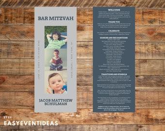 Bar Mitzvah Program   Bat Mitzvah Program   Personalized Mitzvah Program   Customizable Printable JPG PDF   Printed Mitzvah Program