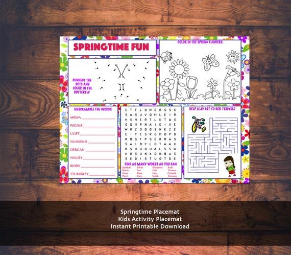 Shabbat Kids Activity Printable Placemat Instant Download
