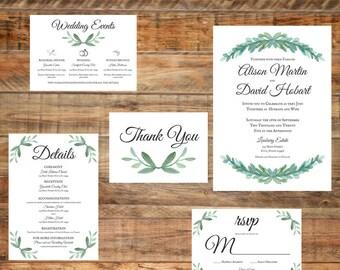 Greenery Wedding Invitation Package, Printable Wedding Invitation Package Digital Download