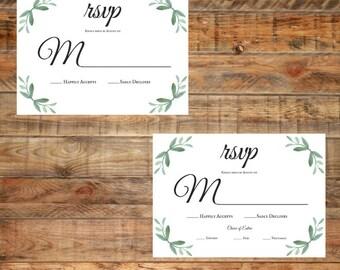 Greenery Wedding RSVP Card, Leafy Green RSVP Card, Water Color RSVP Card, Printable rsvp Card Digital Download
