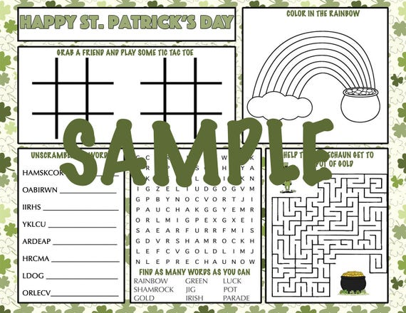 Kids St. Patrick's Day Activity Printable Placemat Instant