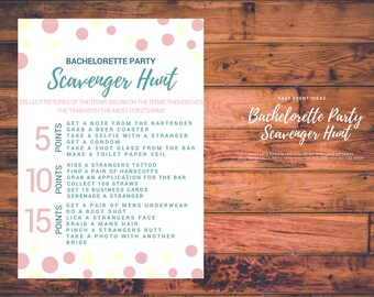 Bachelorette Party Scavenger Hunt Printable's Pink Yellow and Blue