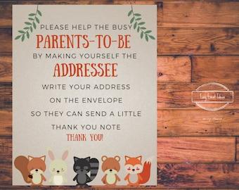 Woodland Creatures Baby Shower Address an Envelope Sign   Addressee Baby Shower Sign