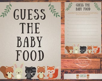 Printable Woodland Creatures Shower Guess the Baby Food Game Printable Instant Download