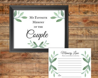 Greenery Favorite Memory of the Couple Sign Printable Wedding Game or Bridal Shower Game, Instant Digital Download