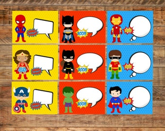 Superhero Themed Food Labels Printable Table Tents Write Yourself or Fillable PDF