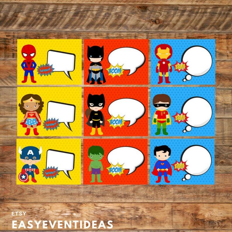 Superhero Themed Food Labels Printable Table Tents Write image 0