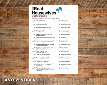The Real Housewives Quotes Game   Housewives Quotes Quiz   Bridal Shower Game   Bachelorette Party   Hens Party   Real Housewives Printable
