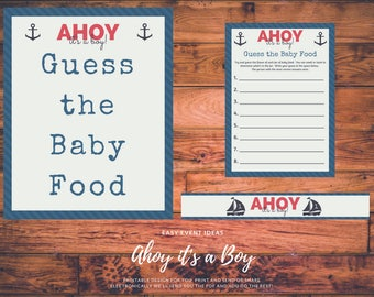 Ahoy it's a Boy Baby Shower Guess the Baby Food Game Printable Instant Download