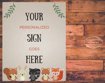 Woodland Creatures Baby Shower Personalized 8x10 Sign   Printable   customized for you download and print