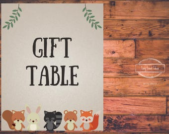 Woodland Creatures Baby Shower Gift Table Sign   Printable   Instant Download