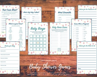 Pink, Yellow, and Blue Shower Game and Advice Card Printable's