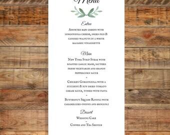 Greenery Wedding Menu, Leafy Green Wedding Menu, Water Color Wedding Menu, Printable Wedding Menu Digital Download