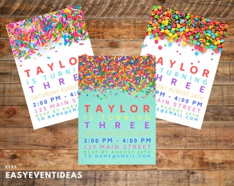 Personalized & Customizable Gender Neutral Rainbow Sprinkle Birthday Party Invitation, Invite, Baby Shower, Announcement Save the Date