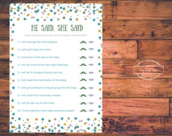 Little Star Baby Shower He Said She Said Game   Printable   Instant Download