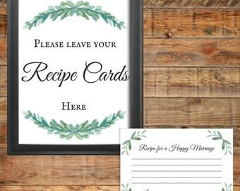 Greenery Recipe Cards Printable Wedding Game or Bridal Shower Game, Instant Digital Download