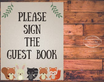 Woodland Creatures Baby Shower Please Sign the Guest Book 8x10 Sign   Printable   Instant Download