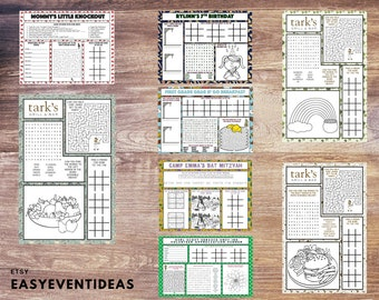 Personalized Activity Placemats Download and Print at home   Customized Restaurant Kids Placemat   Customized Adult Placemats