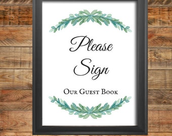 Greenery Guest Book Wedding Sign, Guest Book Shower Sign, Printable, Instant Digital Download