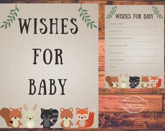 Printable Woodland Creatures Baby Shower Wishes for Baby Sign and Game Instant Download