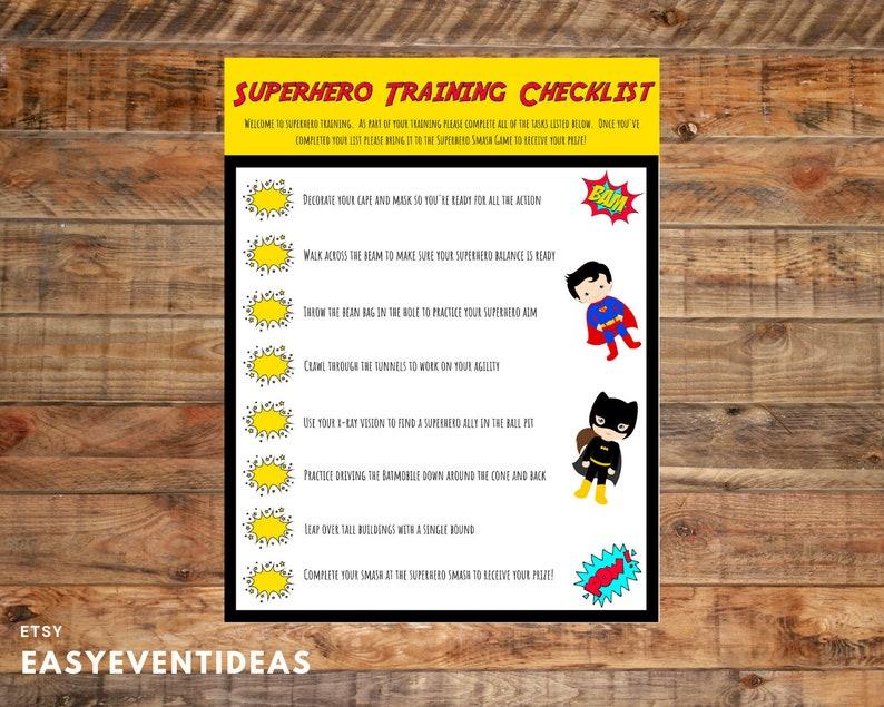 Printable Customized Superhero Training Checklist  Superhero image 0