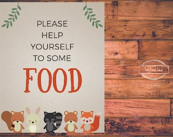 Woodland Creatures Baby Shower Grab Some Food  Sign   Printable   Instant Download
