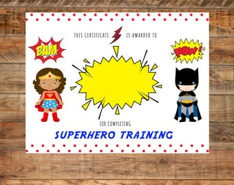 Printable Superhero Training Certificate for Birthday Instant Download