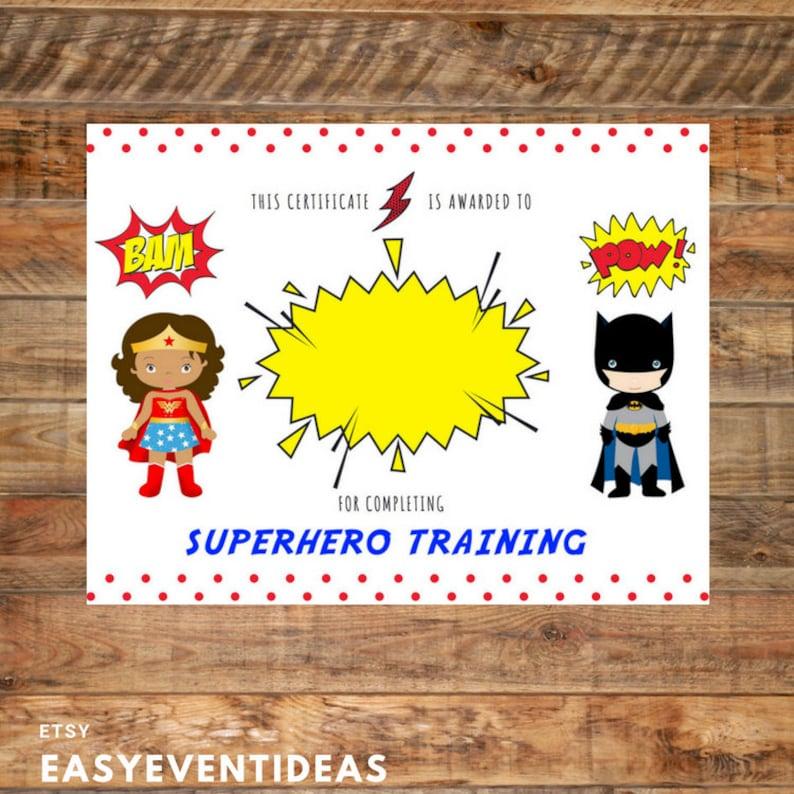 Printable Superhero Training Certificate for Birthday Instant image 0