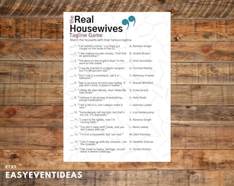 The Real Housewives Tagline Game   Housewives Tagline Quiz   Bridal Shower Game   Bachelorette Party   Real Housewives Tagline Printable