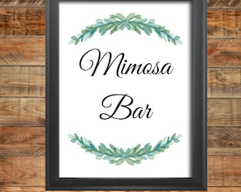 Greenery Mimosa Wedding Sign, Greenery Mimosa Shower Sign, Printable, Instant Digital Download