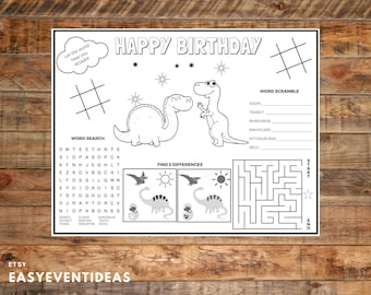 Dinosaur Birthday Printable Placemat