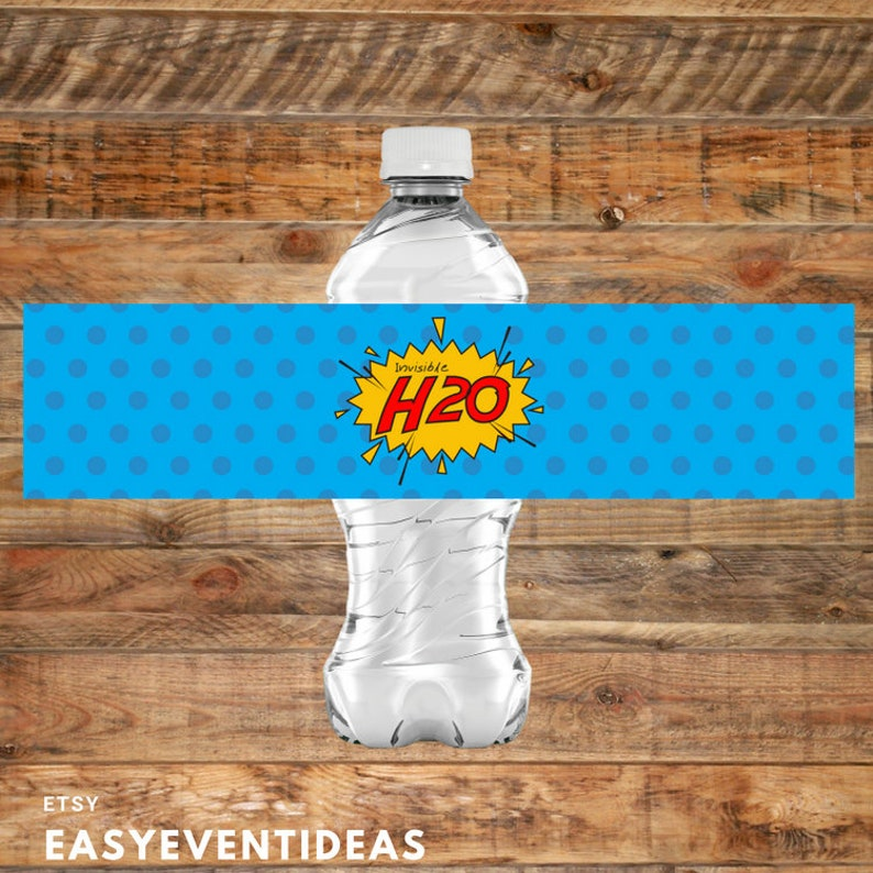 Printable Superhero Invisible H20 Birthday Party Water Bottle image 0