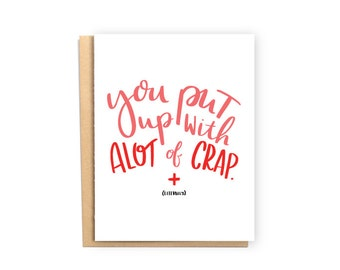 You Put Up With A Lot Of Crap Nurse Appreciation Card Thank Funny Birthday