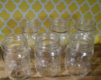 6 New Mason Jars, Crafting, Candles, Hanging, Canning, Vases, PINT Mason Jars, Wedding Decor, Lighting, Rustic Decor