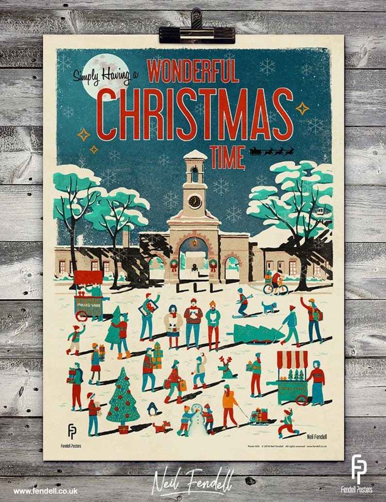 Christmas Posters.Wonderfull Christmas Time Poster A4 A2 Sizes
