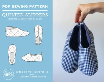 Quilted Slippers Unisex PDF Sewing Pattern