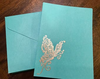 Note Card Set | Set of 10 | Butterfly| Gold Embossed