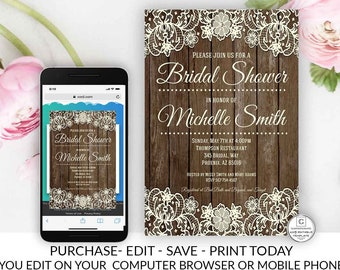 Rustic Lace Bridal Shower Invitation Country Bridal Shower Invitation Template Vintage Online Editable Printable Electronic Invitation DIY