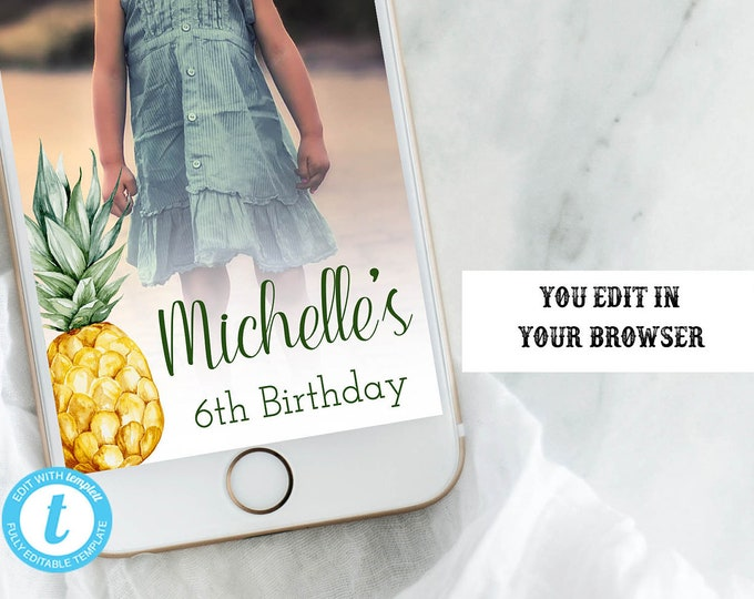 Pineapple Template Snapchat Geofilter, Pineapple, Custom Geofilter, You Edit, Pineapple Birthday Snapchat, Snapchat, Geofilter, DIY Snapchat