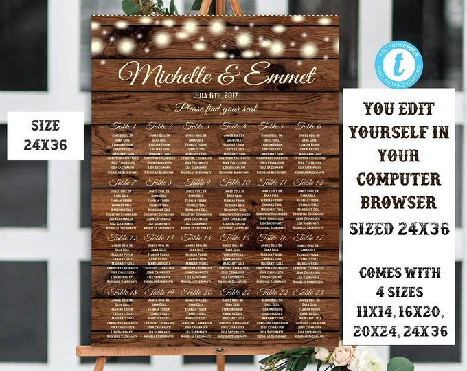 Rustic Wedding Seating Chart Sign Template, DIY Wedding, Seating Chart, Wedding Decor, Editable, Printable, Template, Country, Rustic, DIY