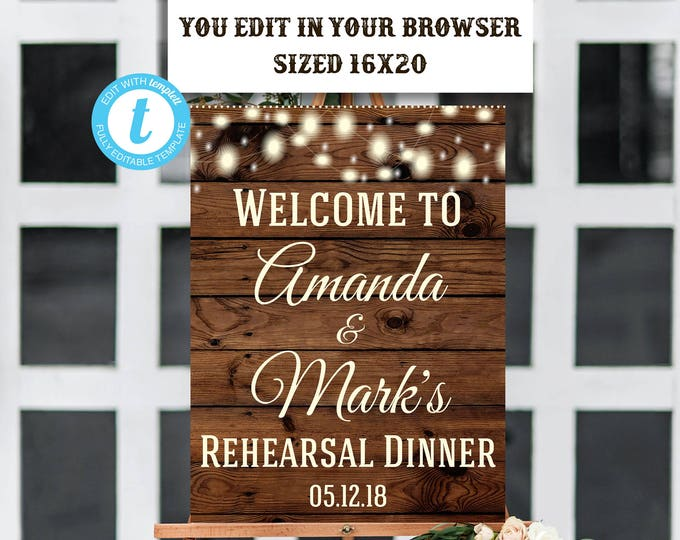 Rehearsal Dinner Welcome Sign Template, Rustic Wedding Sign, Shower Sign, Instant Download, Welcome Sign Template, Digital Sign, Rehearsal