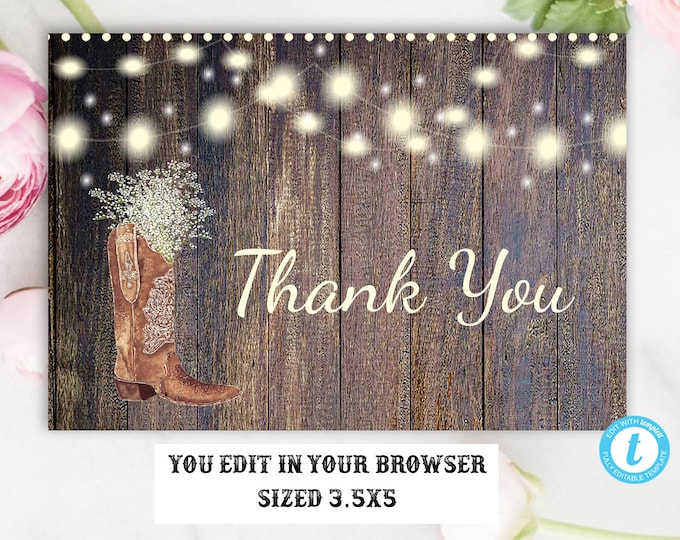 Rustic Boot Country Western Thank You Card, Instant Download, Editable, Template, Printable, Rustic,DIY Card, Bridal, Baby, Shower Thank You