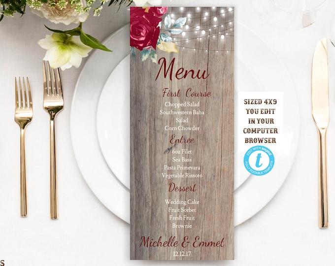 Burgundy Marsala Rustic Wedding Dinner Menu, Burgundy Wedding Menu, Instant Download, Editable, Printable, Marsala, Burgundy,DIY Dinner Menu