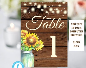 Rustic Sunflower Table Number Sign Template Numbers Wedding Sunflowers Decor Editable