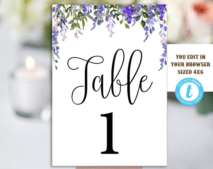 Table Numbers Template, Printable Table Numbers, Wedding Table Numbers, Instant Download, Floral Wedding, YOU EDIT, DIY, Wedding Template